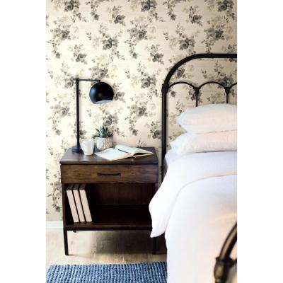 Heirloom Rose Gray/White Premium Peel and Stick Wallpaper Roll (Covers 34 sq. ft.)