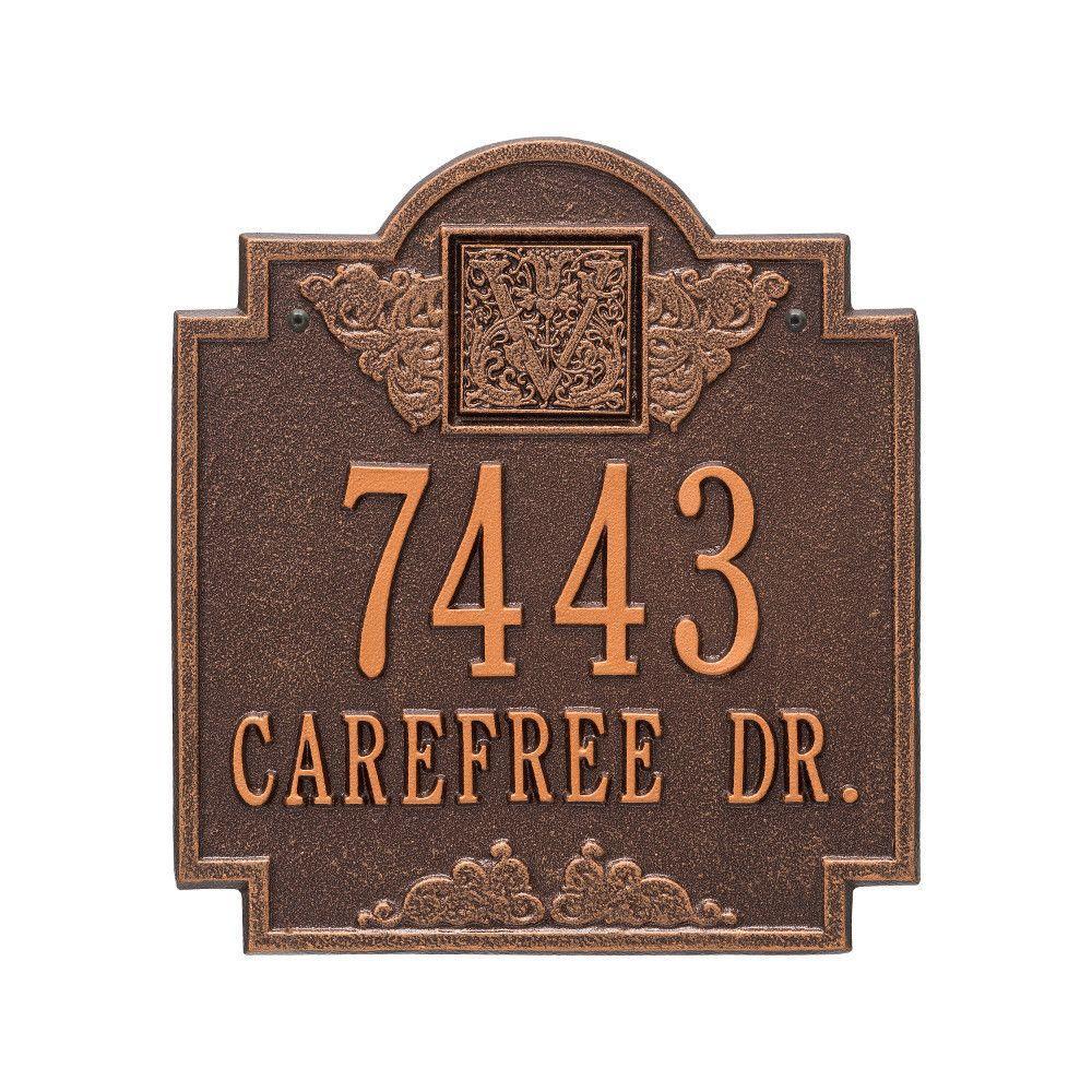 Monogram Standard Wall Square Antique Copper 2-Line Address Plaque