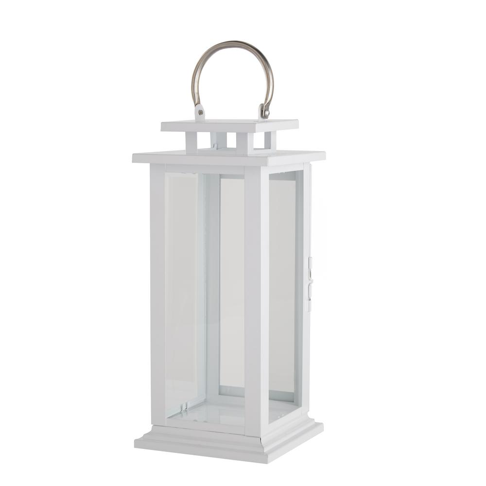 15.35 in. H Chalk White Metal and Glass Lantern