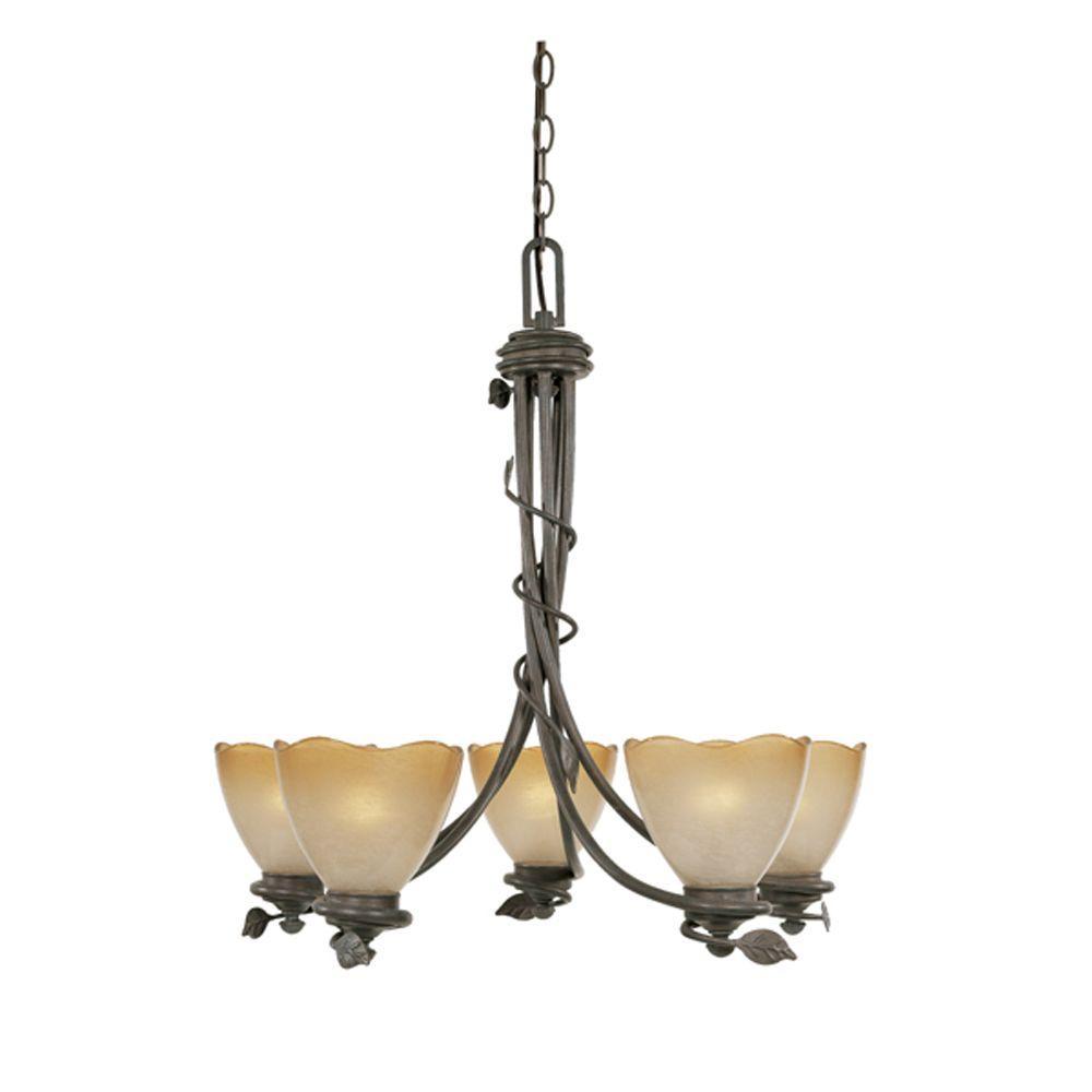 Belle Rose Collection 5-Light Old Bronze Hanging Chandelier