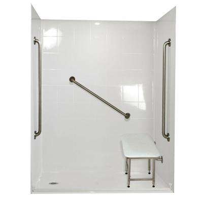 Standard Plus 36 33 in. x 60 in. x 77-3/4 in. Barrier Free Roll-In Shower Kit in White with Left Drain