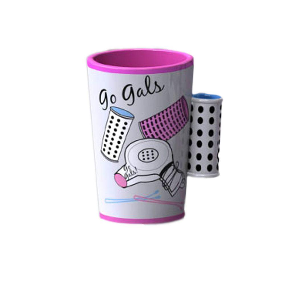 Homewear Hair Salon Collection 4 in. Tumbler in White with Pink Details