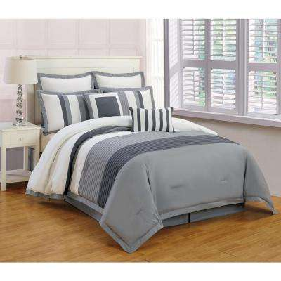 Rochester Grey 8-Piece Queen Comforter Set
