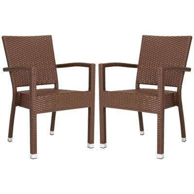 Kelda Stacking Wicker Outdoor Dining Chair Brown (Set of 2)
