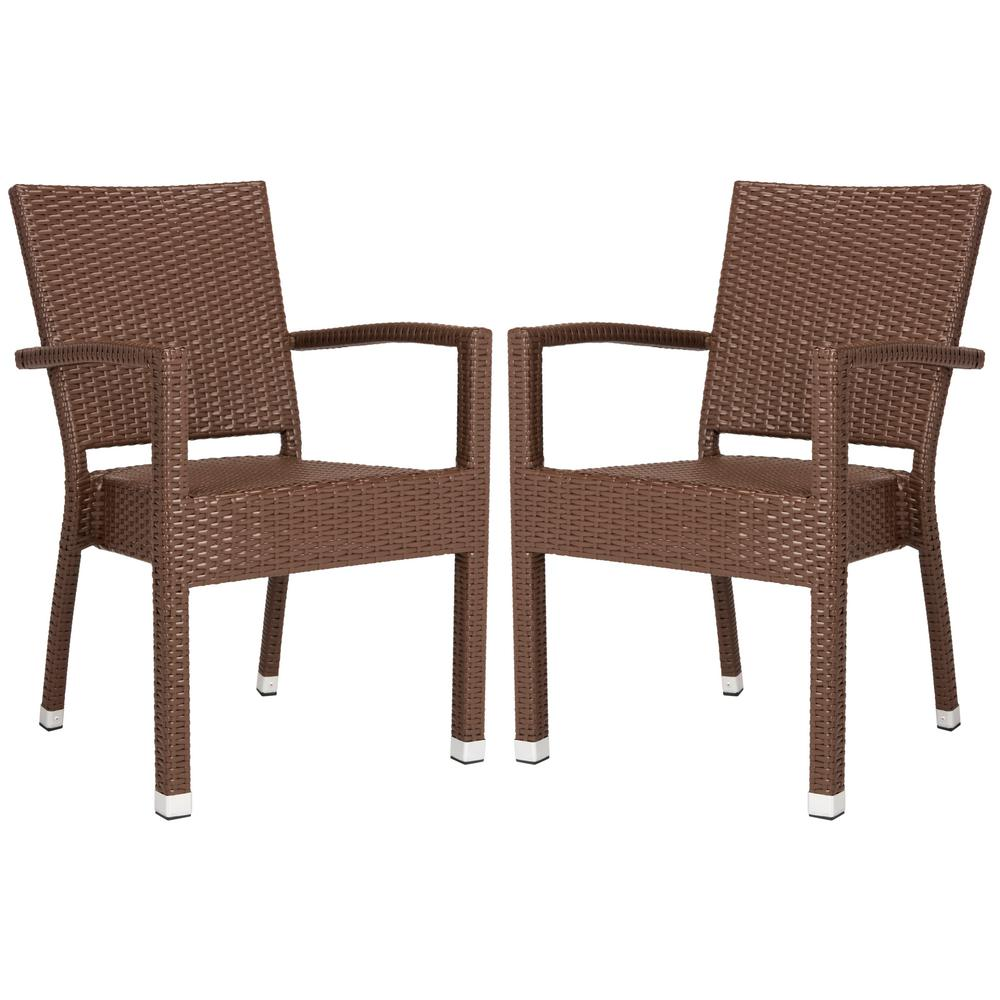 Kelda stacking wicker outdoor dining chair brown set of 2