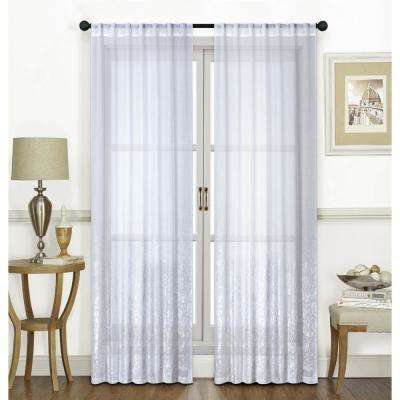Ombre Metallic Lace 84 in. Silver Polyester Printed Sheer Fabric Rod Pocket Window Curtain Panel (2-Pack)