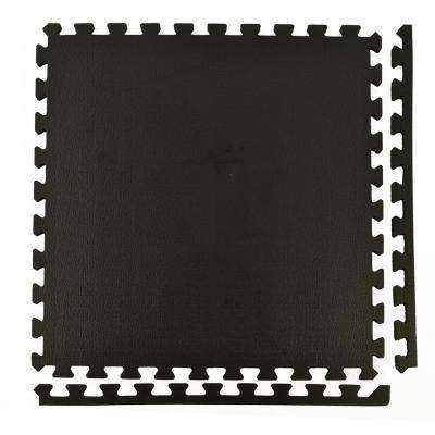 Sport Plus Designer Black 2 ft. x 2 ft. x 0.39 in. Interlocking High Density Foam Floor Tiles (Case of 25)