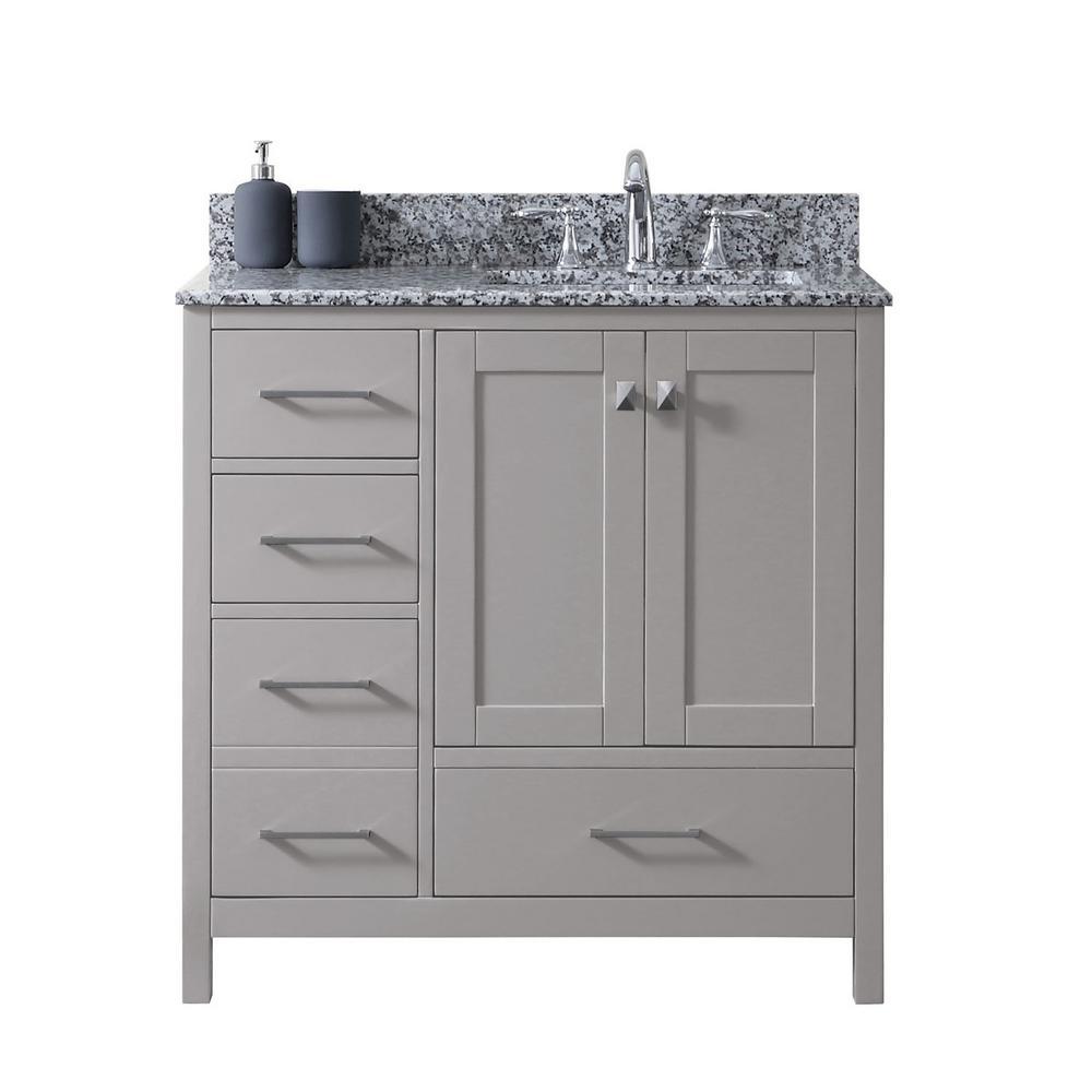 Stupendous Virtu Usa Caroline Madison 36 In W Bath Vanity In C Gray With Granite Vanity Top In Arctic White Granite With Square Basin Download Free Architecture Designs Grimeyleaguecom
