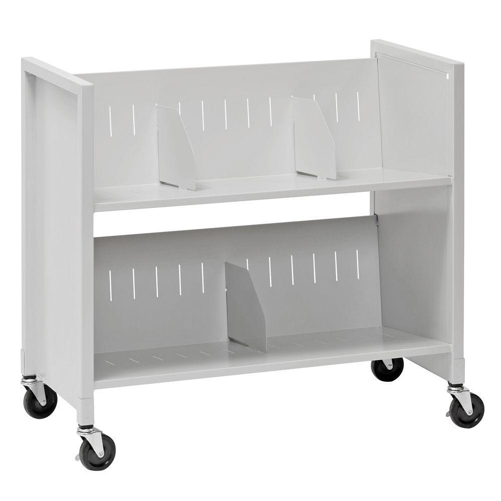31-7/8 in. W 2-Slant Shelf Steel Wheeled Medical Carts in Platinum