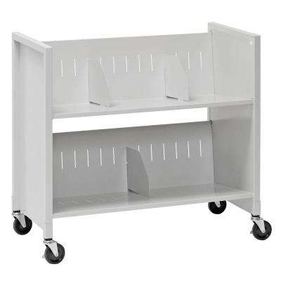 31-7/8 in. W 2-Slant Shelf Steel Wheeled Medical Carts in Platinum