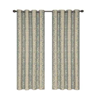 52 in. W x 108 in. L Nadya Print Blackout Poly/Cotton/Linen Window Curtain Panel in Smokey Blue