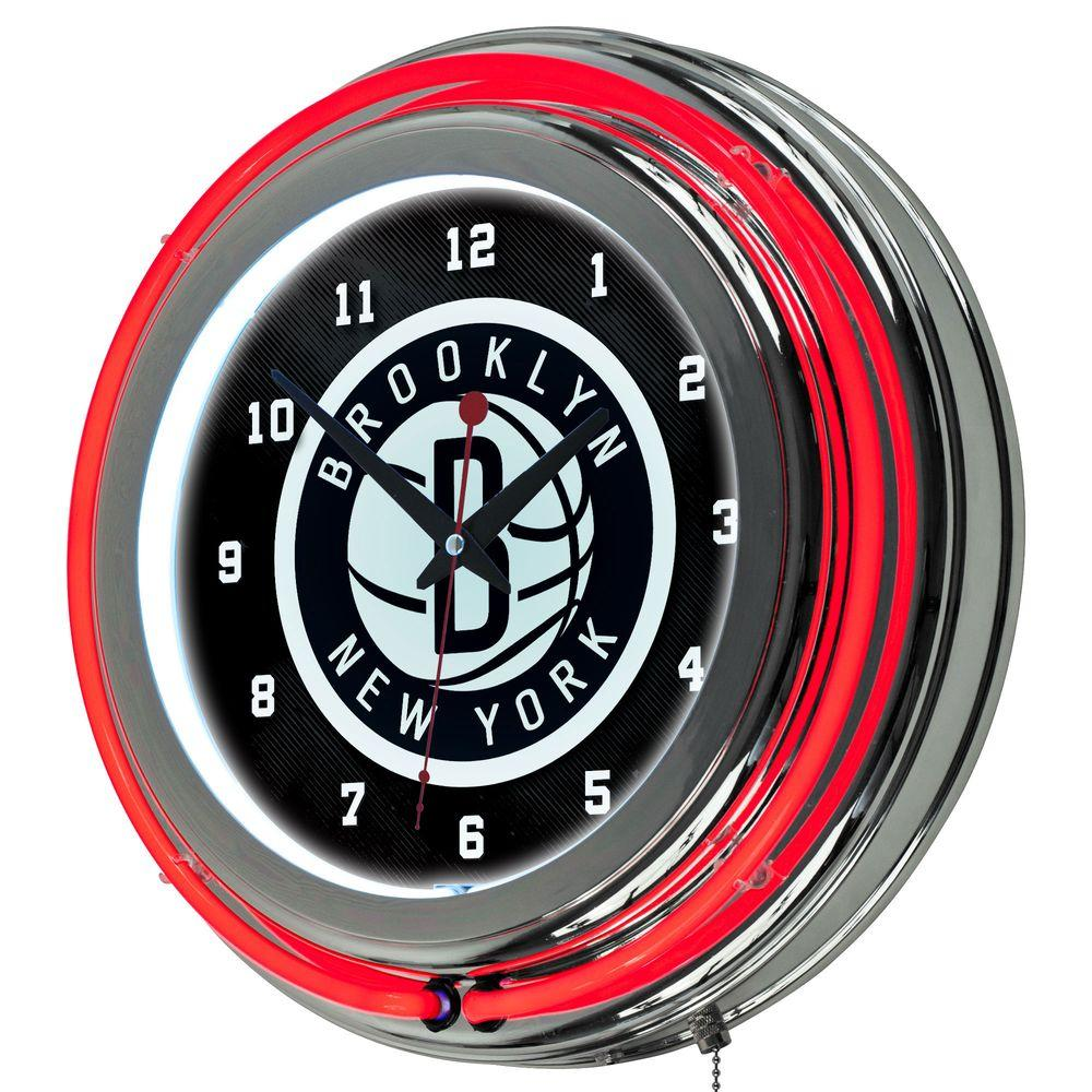 Trademark 14 in. Brooklyn Nets NBA Chrome Double Ring Neon Wall Clock