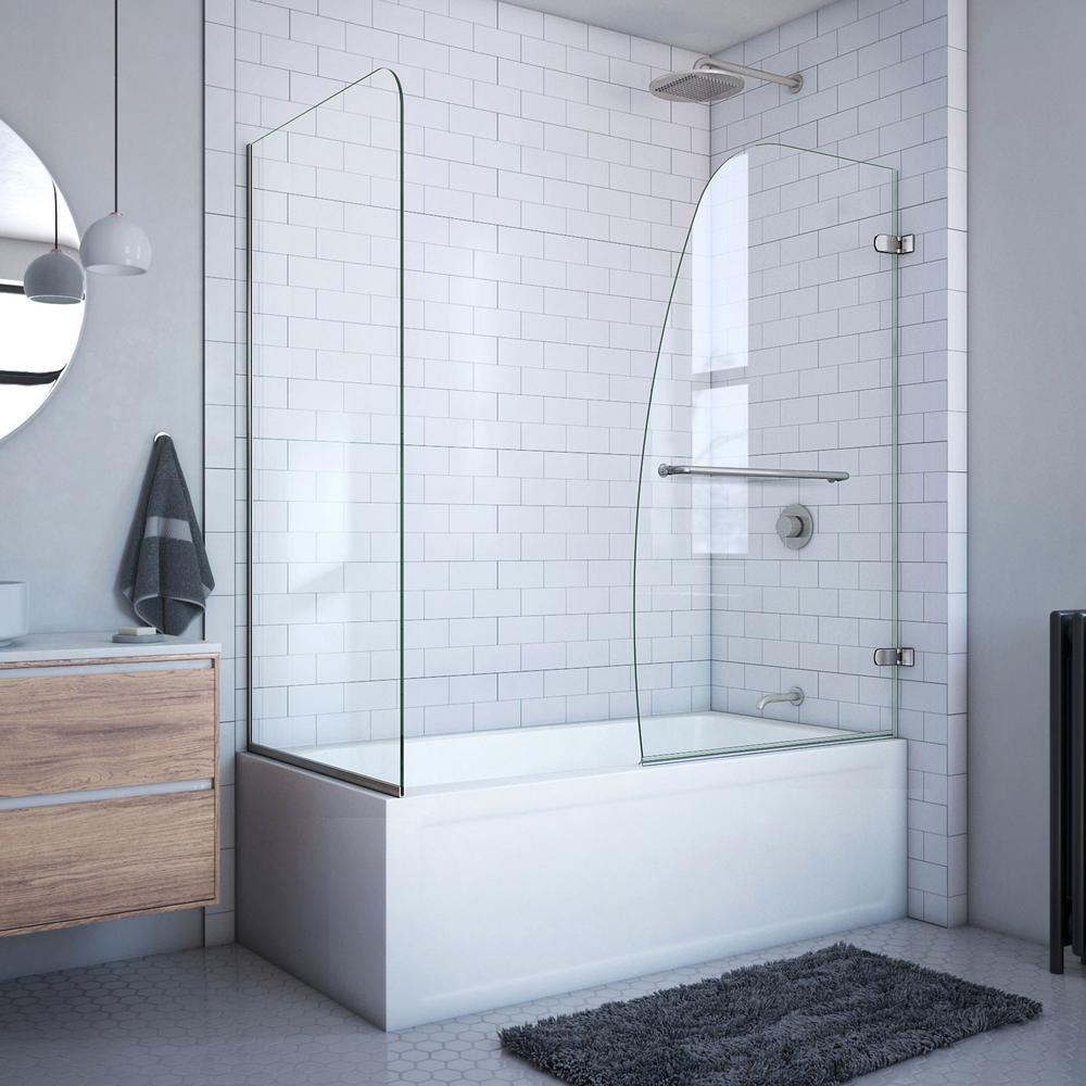 Aqua Uno 60 in. x 58 in. Semi-Frameless Hinged Tub Door in Brushed Nickel