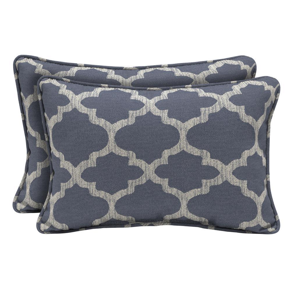 CushionGuard Midnight Trellis Lumbar Outdoor Throw Pillow (2-Pack)