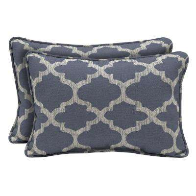 CushionGuard Midnight Trellis Lumbar Outdoor Throw Pillow (2-Pack)