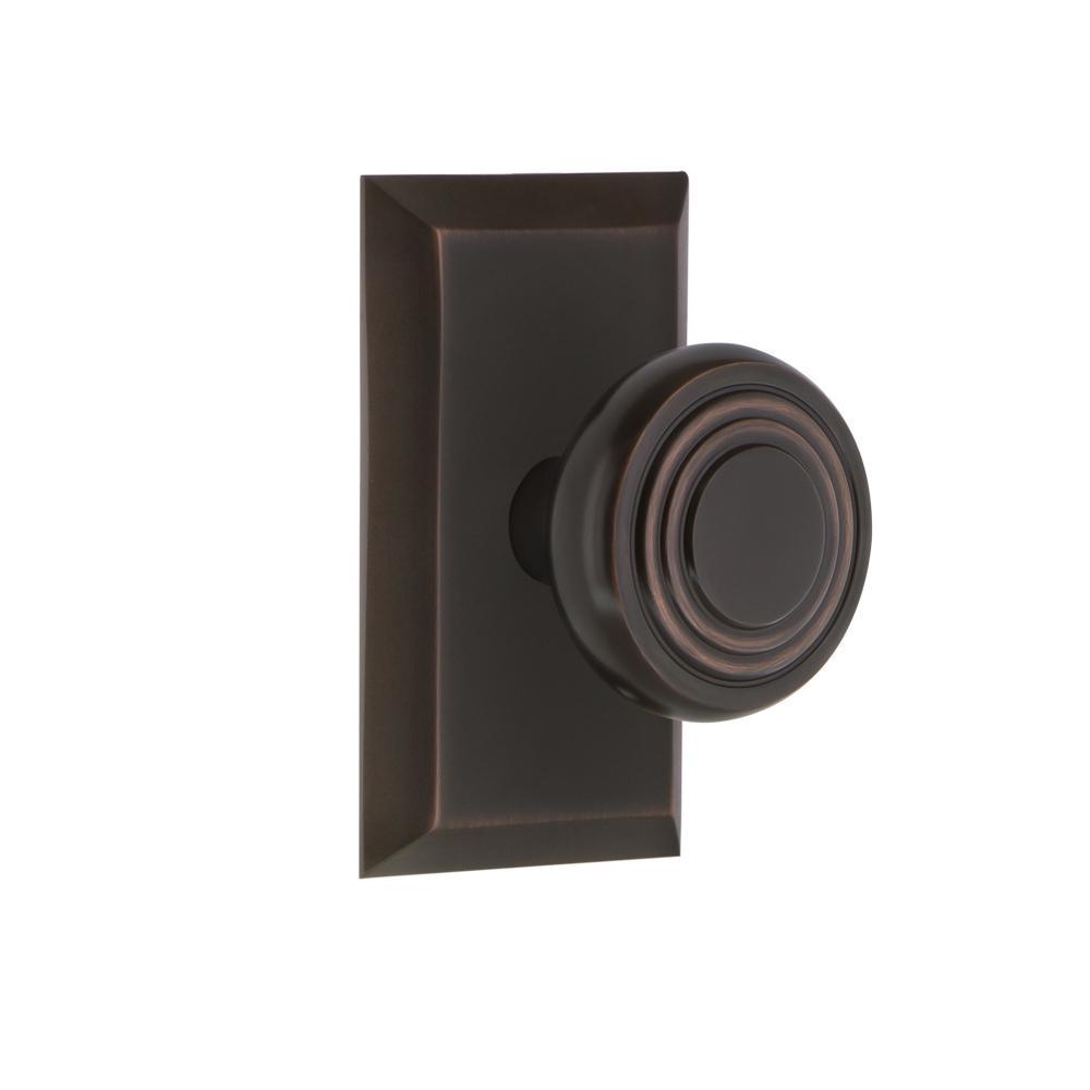Studio Plate 2-3/8 in. Backset Timeless Bronze Privacy Bed/Bath Deco Door Knob