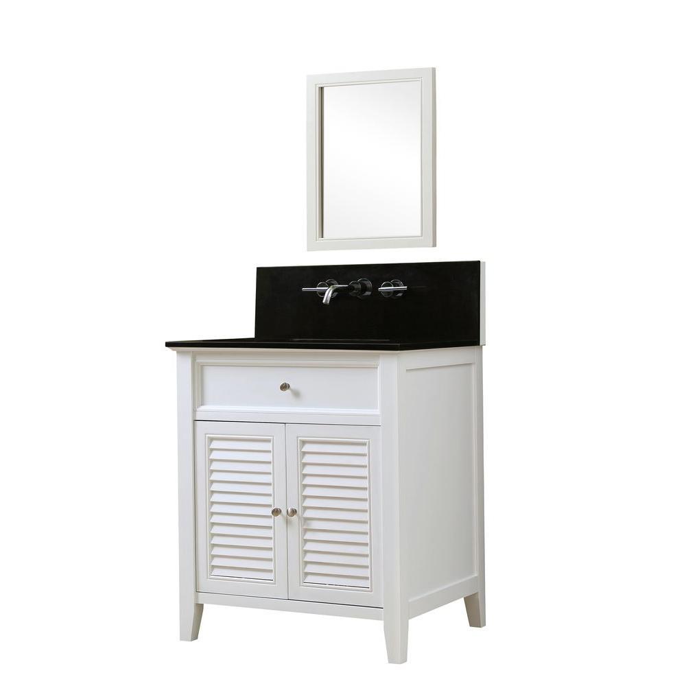 Direct vanity sink Shutter Premium 32 in. Vanity in White with Granite Vanity Top in Black with White Basin and Mirror