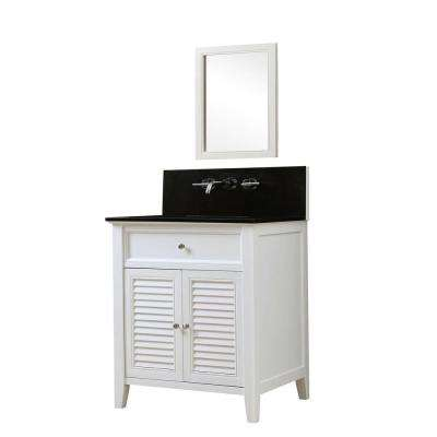 Shutter Premium 32 in. Vanity in White with Granite Vanity Top in Black with White Basin and Mirror