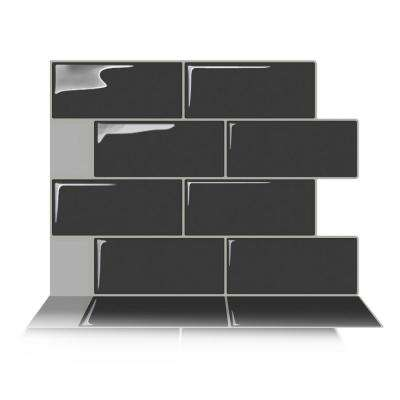 Subway Matt Dark Grey 11 in. W x 8.3 in. H Grey Peel and Stick Decorative Mosaic Wall Tile Backsplash (6-Tiles)