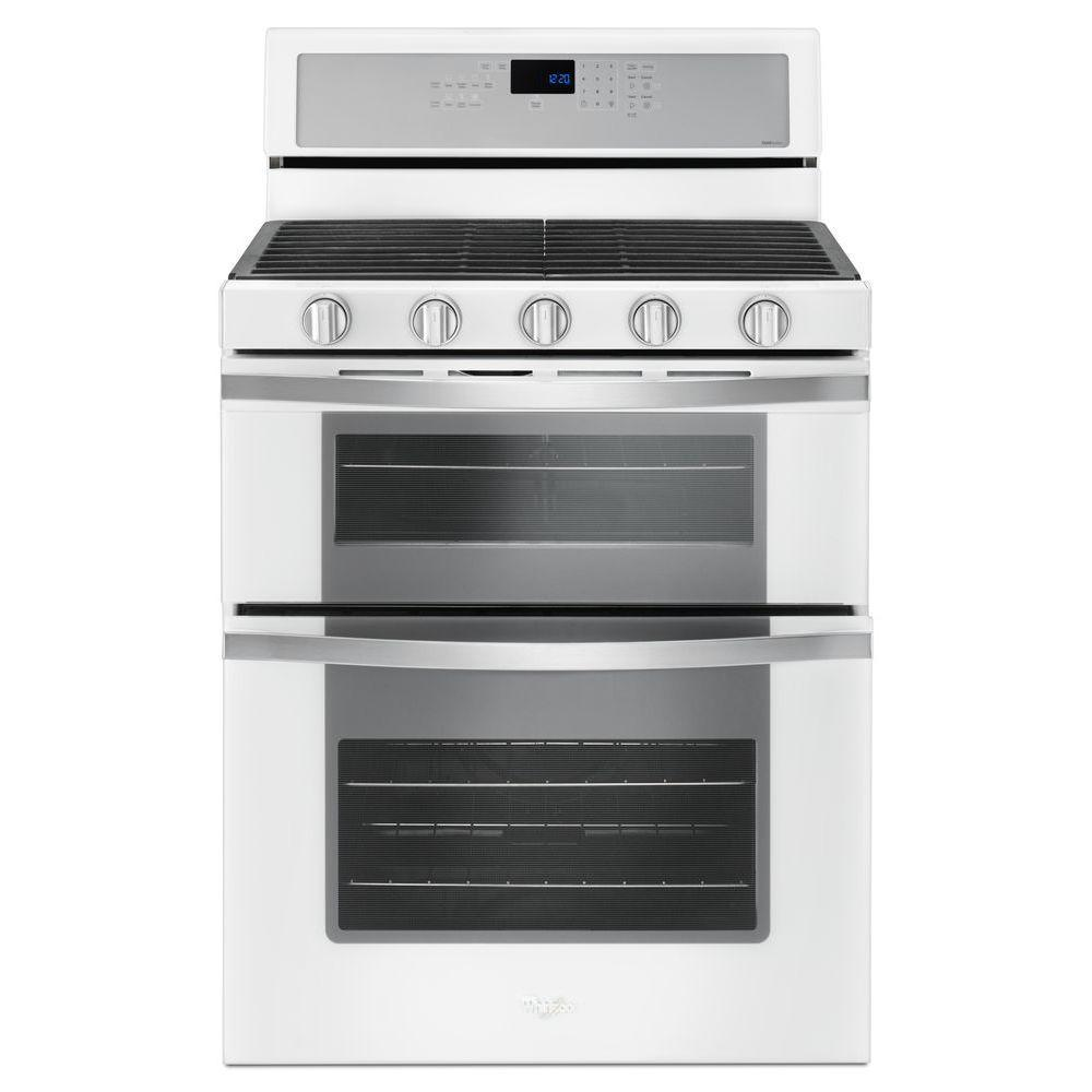 Double Oven Gas Range With Center Oval Burner In White