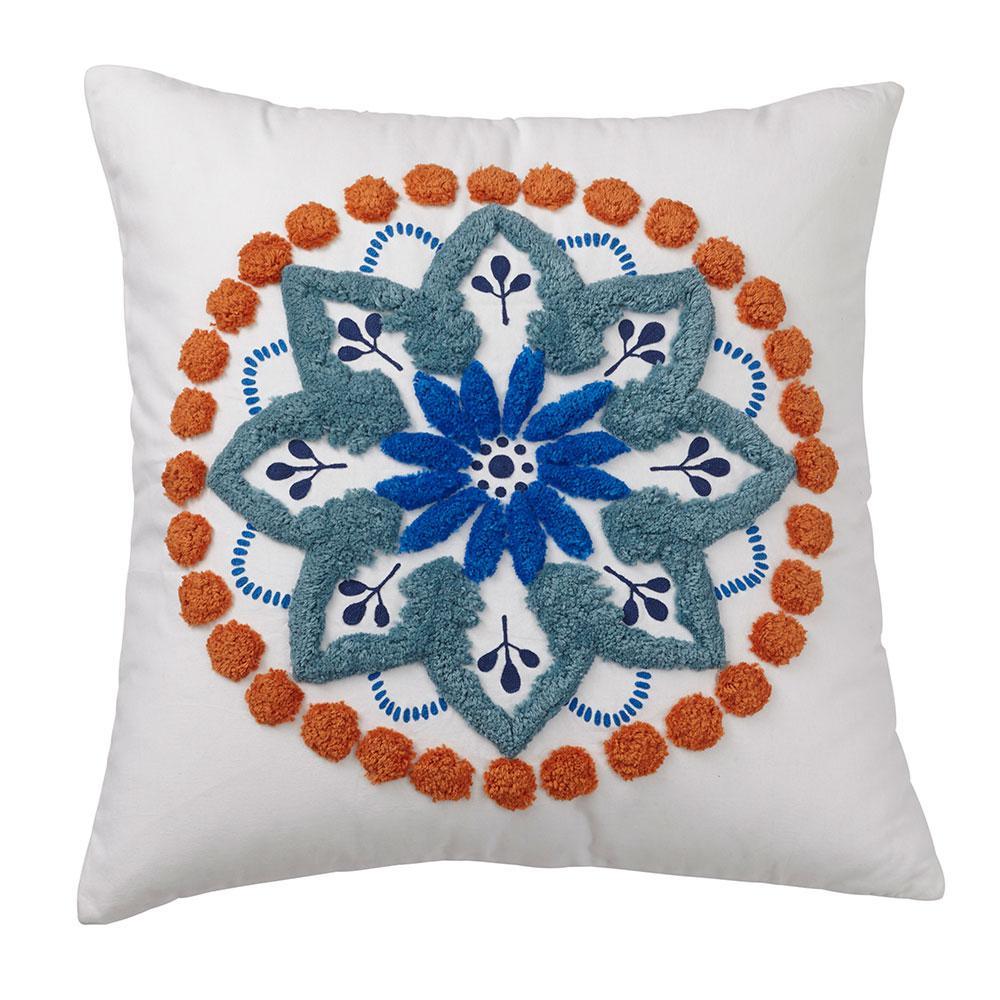 Carlotta 26 in. x 26 in. Suzani Blue Pillow Cover