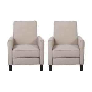 Darvis Wheat and Dark Brown Upholstered Recliner (Set of 2)