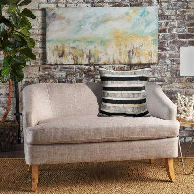 Homestead Gaucho Stripe Charcoal and Beige 20 in. x 20 in. Indoor Throw Pillow