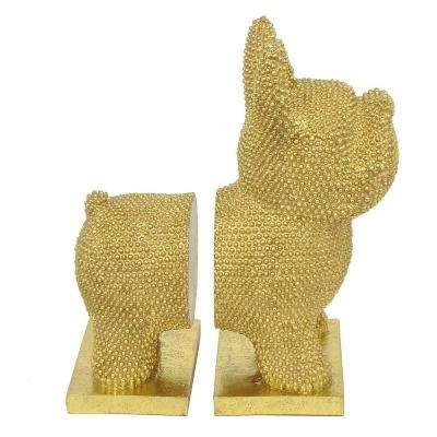 9.75 in. Gold Resin Dog Bookends (Set of 2)