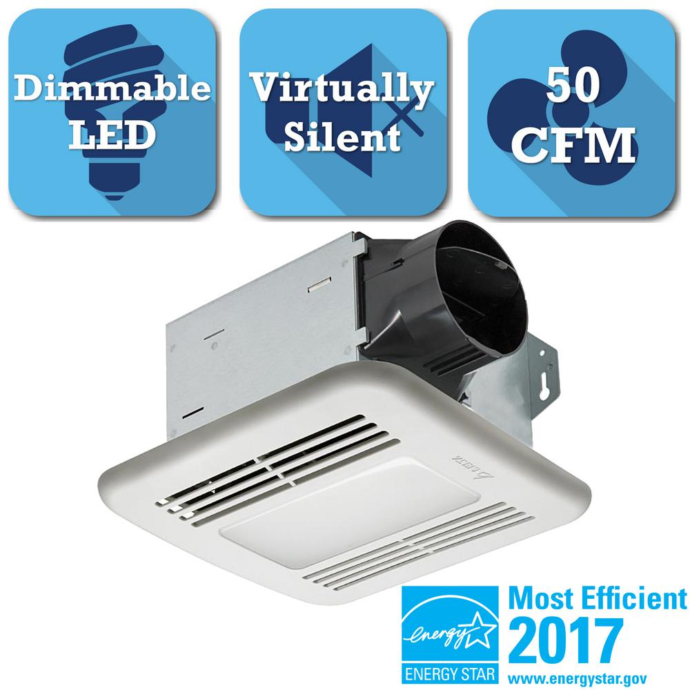Integrity Series 50 CFM Ceiling Exhaust Bath Fan with Dimmable LED