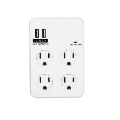 4-Outlet/2-USB Power Charging Station with Surge Protector, White