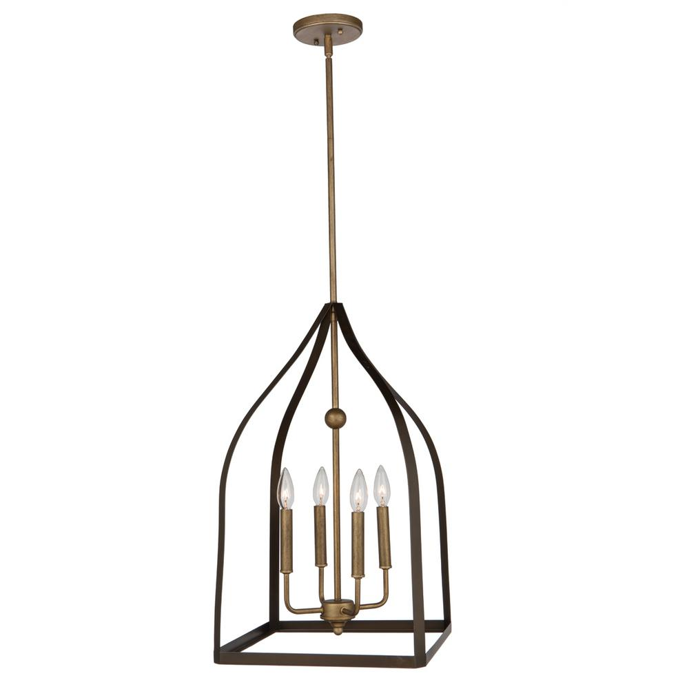 4-Light Oil Rubbed Bronze and Antique Gold Chandelier
