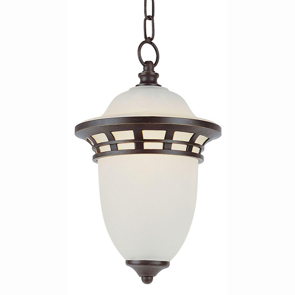 Bel Air Lighting Energy Saving 1-Light Outdoor Hanging Bronze Lantern with Frosted Glass