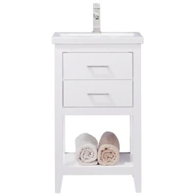 Cara 20 in. W x 15 in. D Bath Vanity in White with Porcelain Vanity Top in White with White Basin