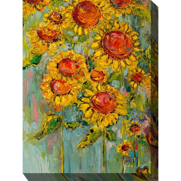 30 In X 40 In Hearts And Flowers Outdoor Canvas Wall Art