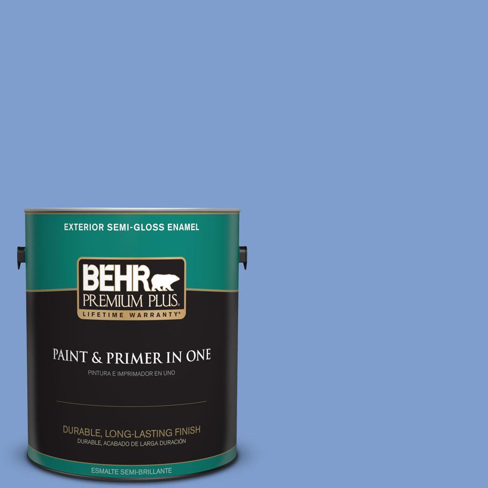 1-gal. #BIC-09 Caribbean Sky Semi-Gloss Enamel Exterior Paint