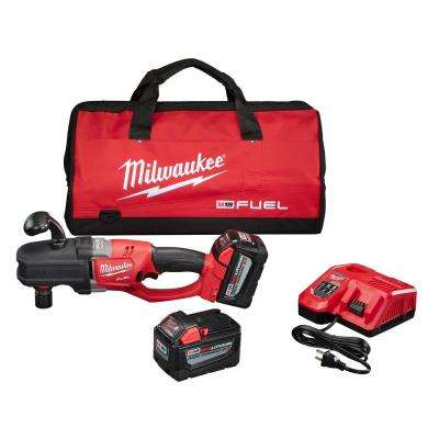 M18 FUEL 18-Volt Cordless Brushless Lithium-Ion 1/2 in. HOLE HAWG Right Angle Drill Kit with QUIK-LOK HIGH DEMAND Kit