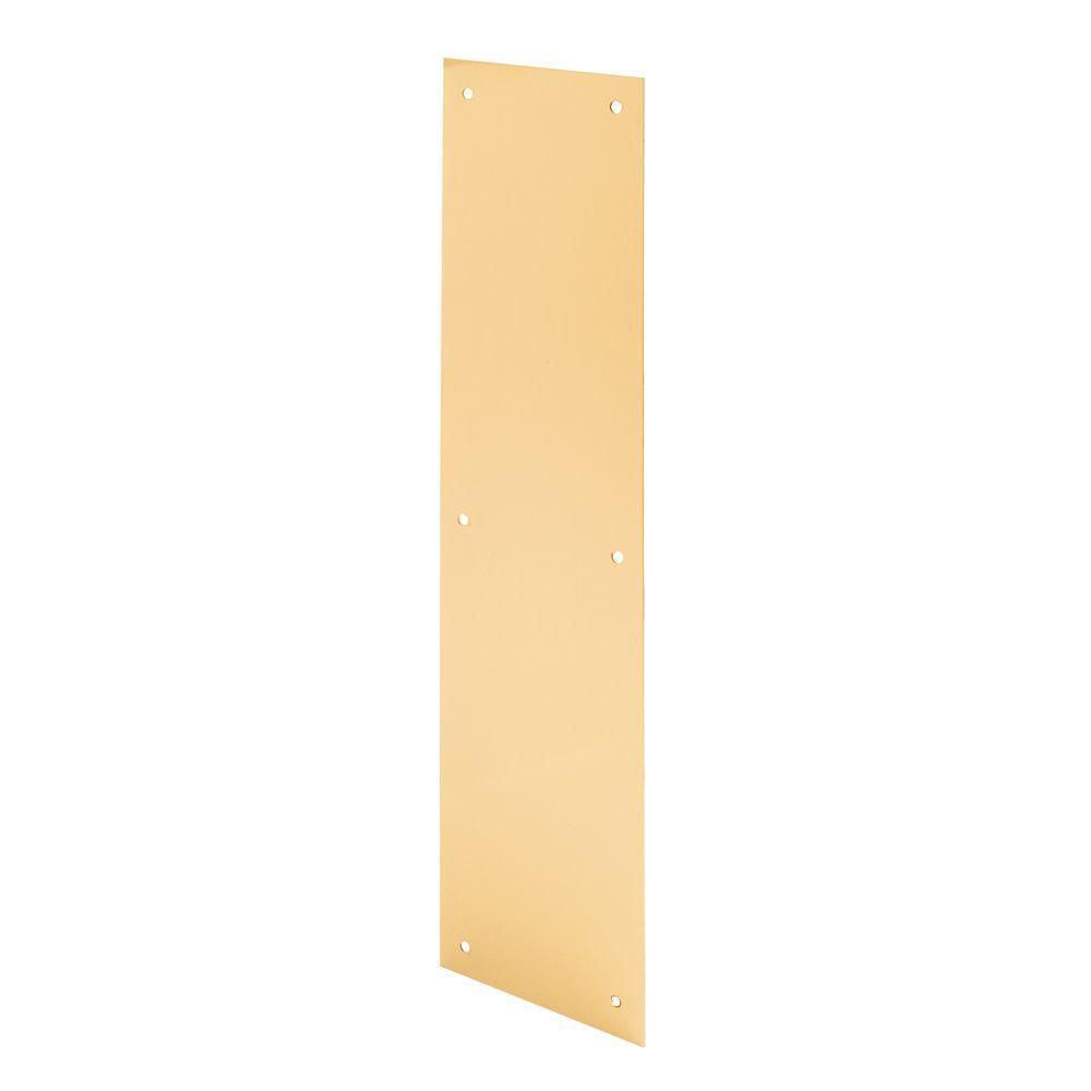 Prime-Line 4 in. x 16 in. Brite Brass Door Push Plate