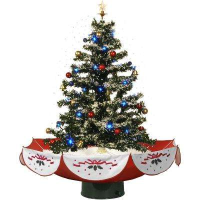 29 in. Snowing Musical Christmas Tree with Red Base and Snow Function
