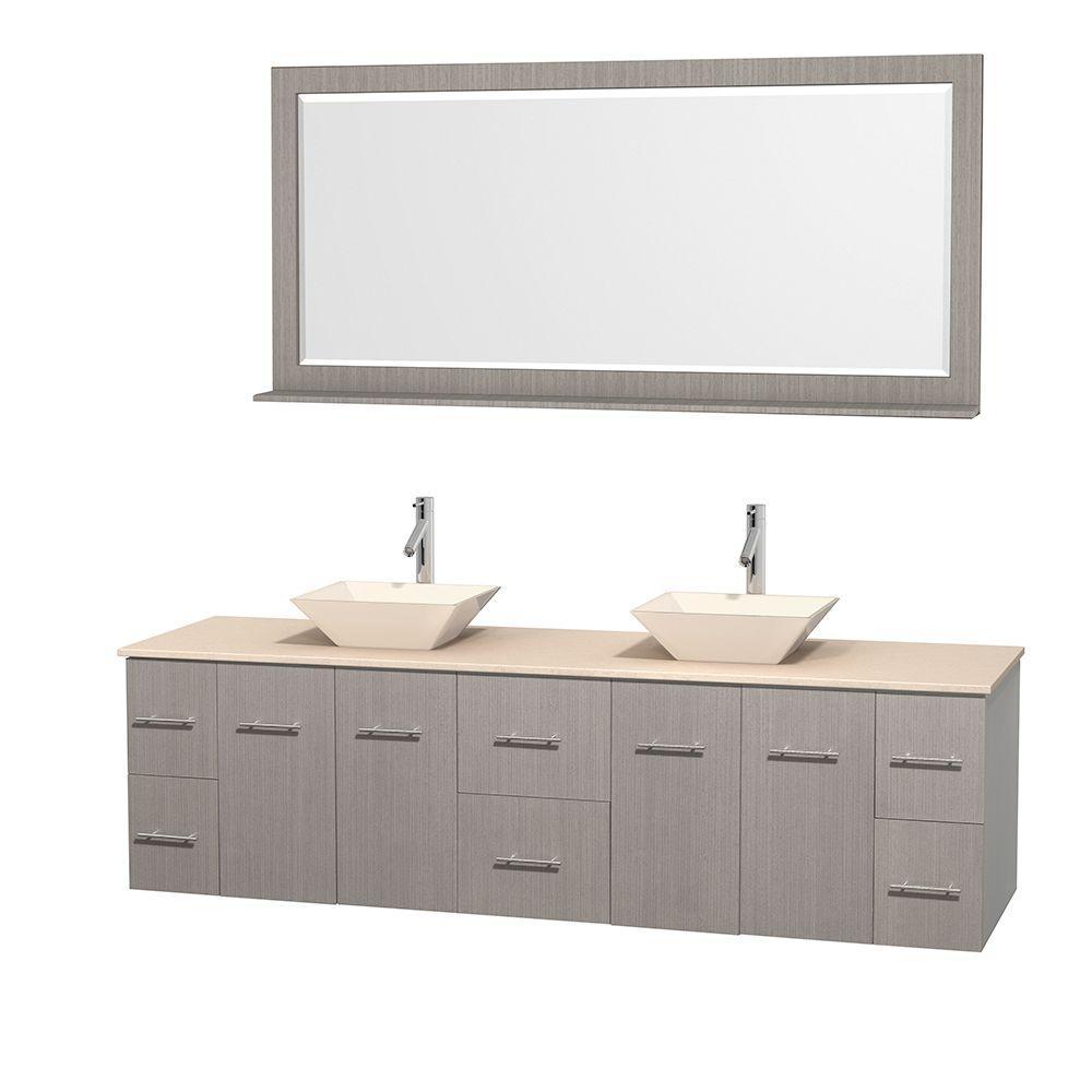 Centra 80 in. Double Vanity in Gray Oak with Marble Vanity