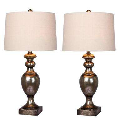 Fangio Lighting's 28 in. Resin Urn Table Lamp Set in Antique Gold Leaf (2-Pack)