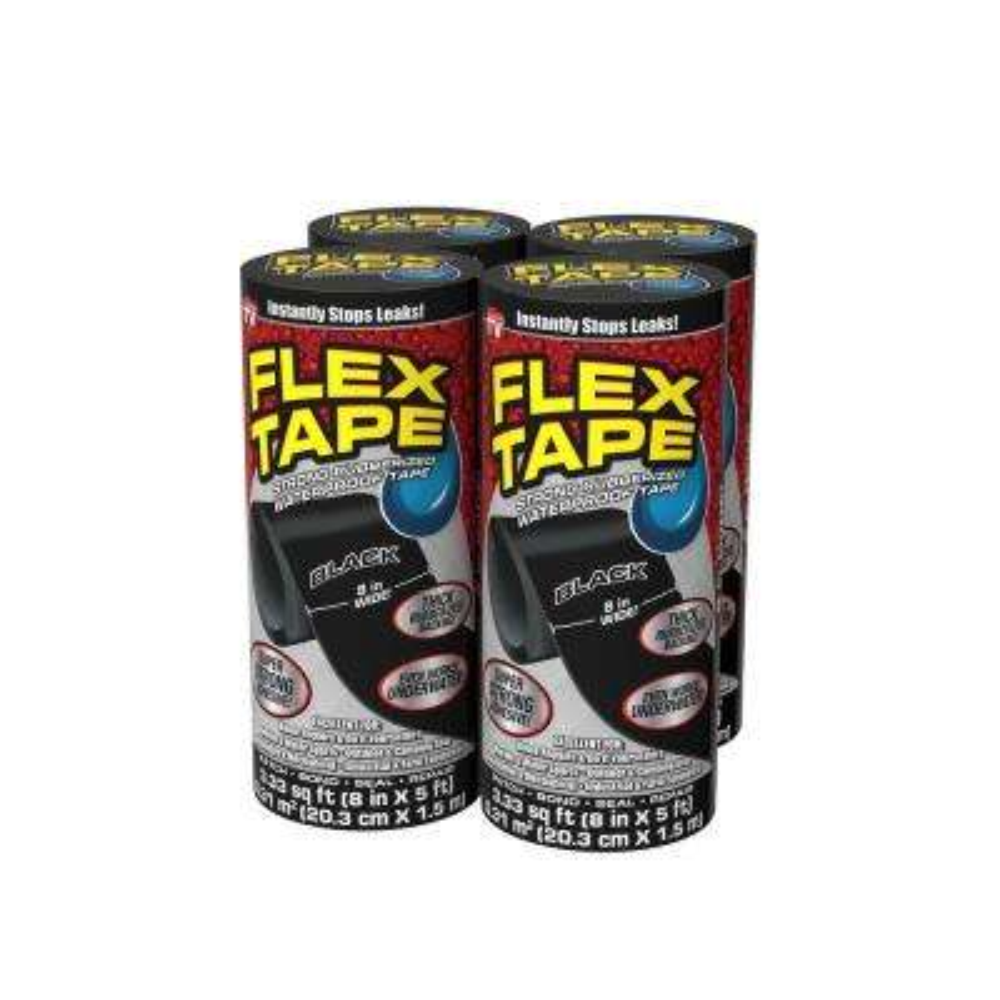 Flex Tape Black 8 in. x 5 ft. Strong Rubberized Waterproof Tape (4-Piece)