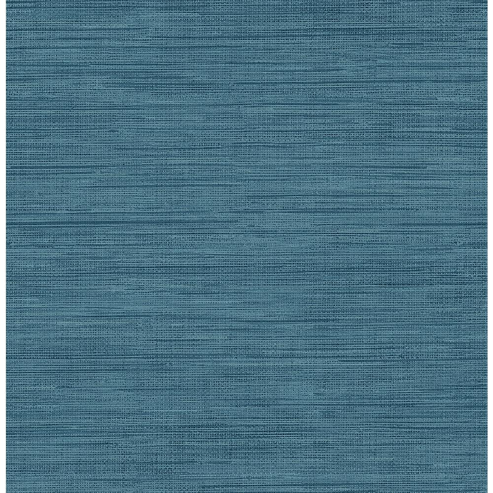 8 in. x 10 in. Sea Grass Blue Faux Grasscloth Wallpaper Sample