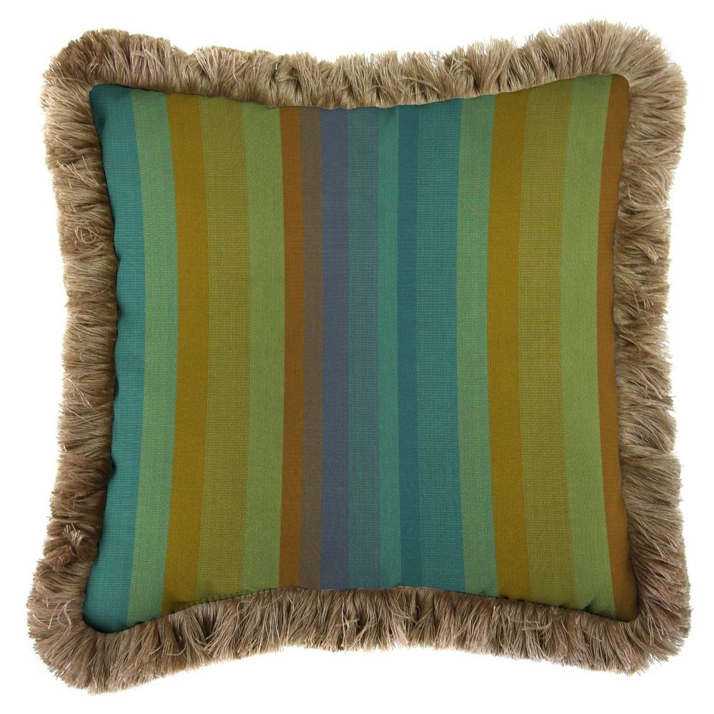 Sunbrella Astoria Lagoon Square Outdoor Throw Pillow with Heather Beige Fringe