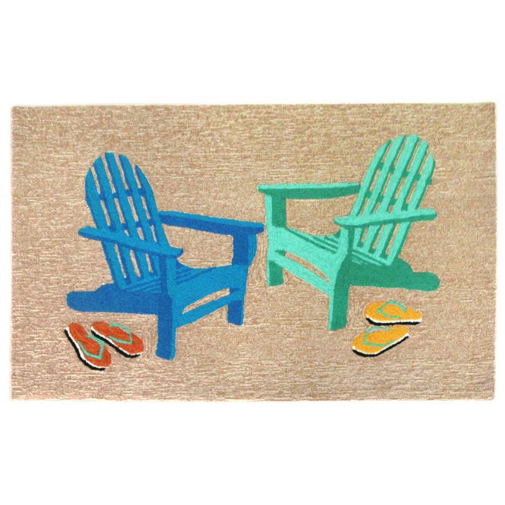Woodside Beach Chairs Seaside 8 Ft. X 10 Ft. Indoor/Outdoor Area Rug
