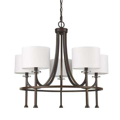 Kara 5-Light Indoor Chandelier with Shades and Crystal Bobeches in Oil Rubbed Bronze