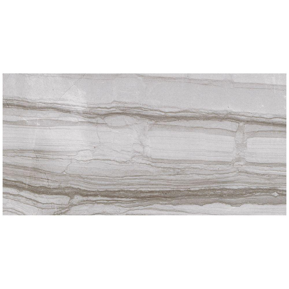 VitaElegante Grigio 12 in. x 24 in. Porcelain Floor and Wall