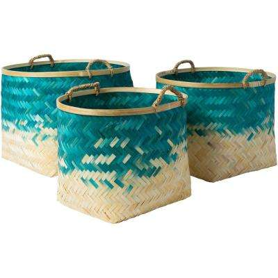 Adely Teal Bamboo 15 in. x 11 in., 16.9 in. x 12.6 in., 18.9 in. x 14.2 in. 3-Piece Basket Set