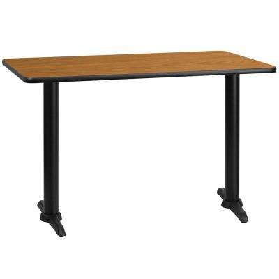 30 in. x 48 in. Rectangular Natural Laminate Table Top with 5 in. x 22 in. Table Height Bases
