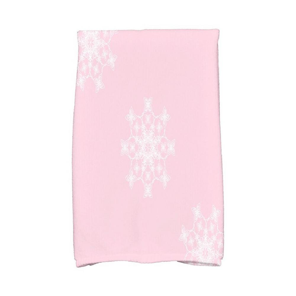 16 in. x 25 in. Light Pink Falling Snow Holiday Geometric Print Kitchen  Towel