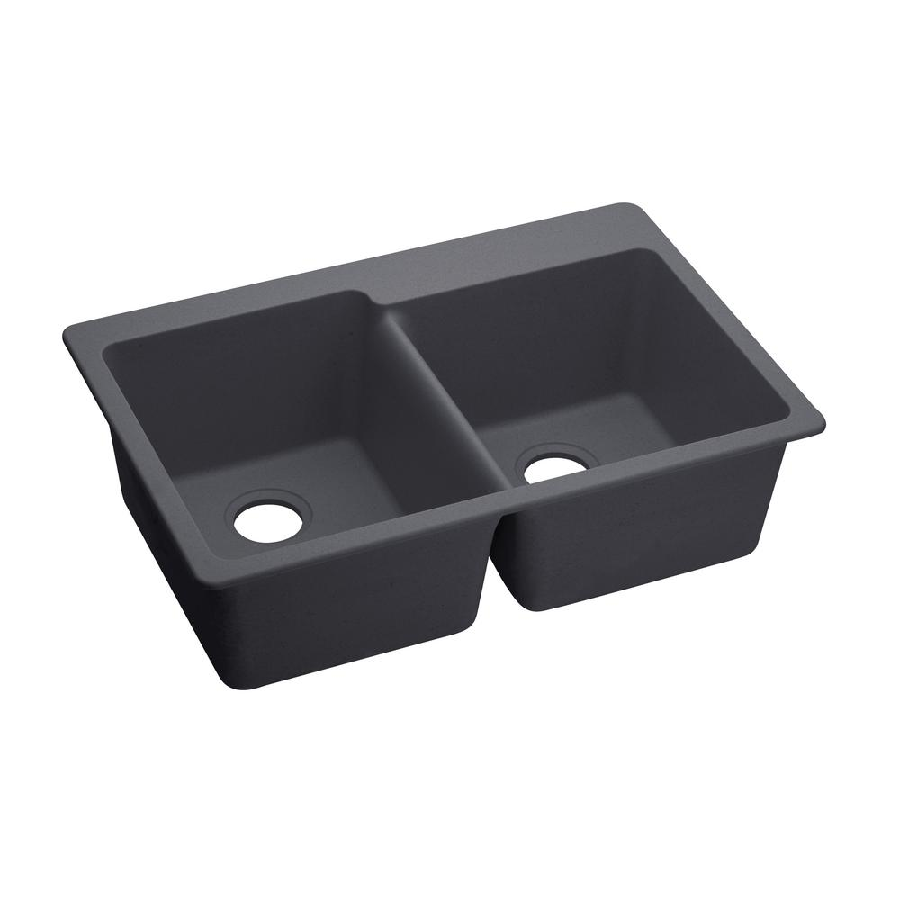 Elkay Quartz Luxe Drop-In Composite 33 in. Square Offset Double Bowl Kitchen Sink in Charcoal